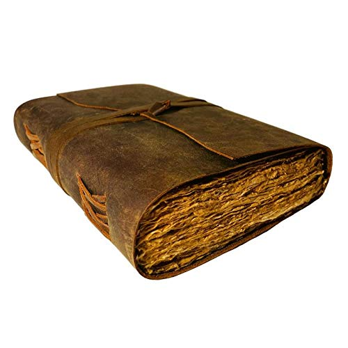 Leder-Notizbuch mit Büttenrand, Vintage-Stil, handgefertigtes Papier zum Verschenken für Ihn/Ihn