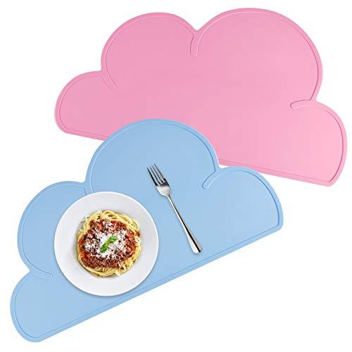 OMZGXGOD 2pcs BPA-frei Platzdeckchen,Kinder Platzset Wolke,Platzdeckchen für Kinder,Tischunterlage für Baby,Kinder Silikon Untersetzer Tisch-Sets Platzset (pink+ blau)