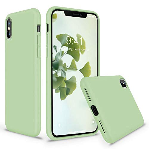 Vooii iPhone Xs Case, iPhone X Case, Soft Liquid Silicone Slim Rubber Full Body Protective iPhone Xs/X Case Cover (with Soft Microfiber Lining) Design for iPhone X iPhone Xs - Matcha