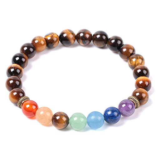 2Pcs 2021 Natural Mala Gem Stone Tiger Eye Mens Women Charm Bracelets Meditation 7 Chakra Yoga Beads Tibetan Prayer Hombre E958