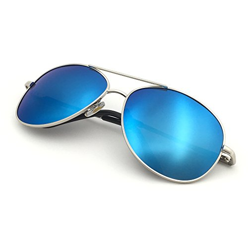 J+S Premium Military Style Classic Aviator Sunglasses, Polarized, 100% UV Protection (Medium Frame - Silver Frame/Blue Mirror Lens)