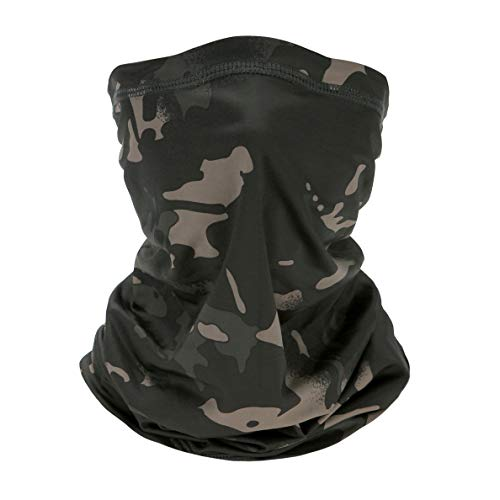 Sllrrka Ice Silk Fabric Headwear Face Mask Headband Neck Gaiter Multifunct for by Motorcycle, Mountaineering, Skiing, Outdoor sportsional (Camouflage Black)