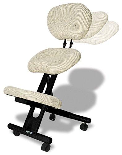 cinius Ergonomischer Stuhl Orthopädischer Kniestuhl mit Rücken Computerstuhl Kniehocker Stoff Schwarz/Natural Farbe