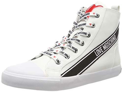 Love Moschino SCA. Nod. Gomma30 Nappa PU, Baskets Hautes Femme, Blanc (Bianco 100), 36 EU