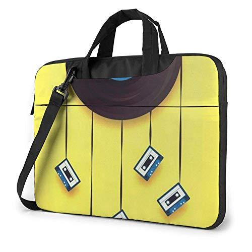 Vinyl Records and Tapes Printed Laptop Shoulder Bag,Laptop Case Handbag Business Messenger Bag Briefcase