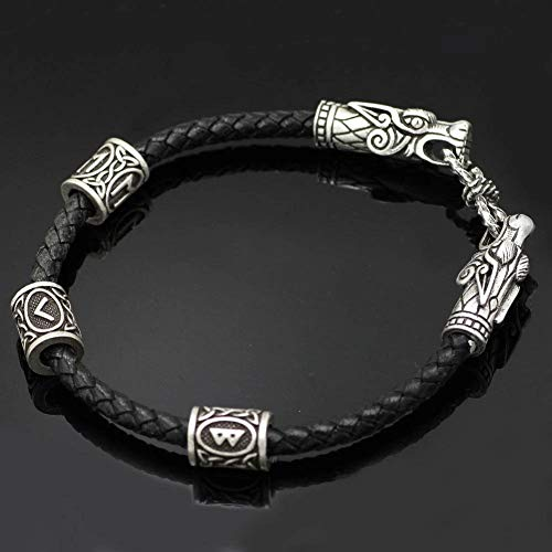 AQzxdc Herren Wikinger Keltischen Drachenkopf Armband, Nordic Odin Rune Perle Leder Manschette Armreif Vintage Amulett Handgefertigten Schmuck,Silber,23CM