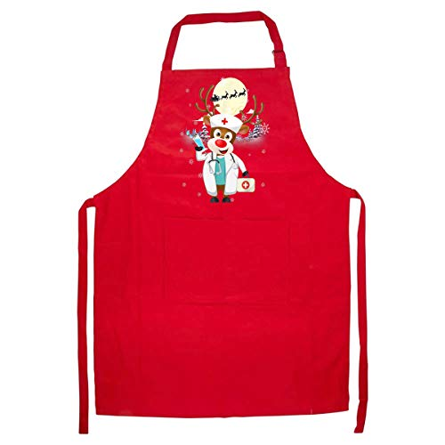 FEDOLI Medical Scrub Top Reindeer Nurse with Stethoscope Christmas Kitchen Apron - Best Gift on Birthday Presents/Christmas and New Year – Red