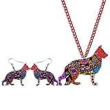 Jskdzfy Conjuntos de joyería de acrílico collar de perro pendientes gargantilla collar colgante de moda para mujeres y niñas accesorios (color: multicolor)