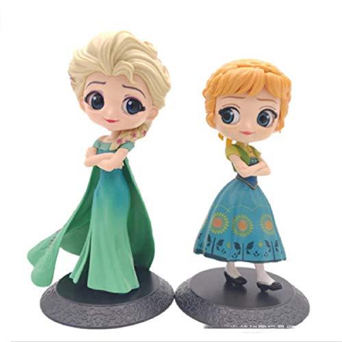 2 Piezas de Figuras de Anime de Disney Frozen Queen Elsa Anna Princesa Juguetes Lindos Modelo de acción Figma niños muñeca decoración Coleccionable