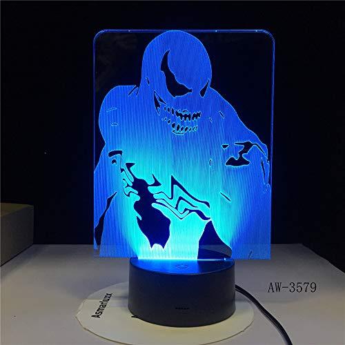 Agentes de veneno Figma Modelo 3D LED Ilusión Luz nocturna Luz de hadas Lámpara de escritorio Cuerpo móvil Figura de veneno Juguetes AW3