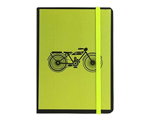 Emartbuy Serie de Transporte Diario Cuaderno Rayado A5 - Moto Verde Lima