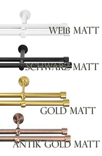 Rollmayer Metall Schwarz Matt Vorhangstange/Gardinenstange Ø 19mm Rohr (240cm Crux, im Schwarz Matt, 2-läufig) einfache Montage Verschiedene Größen und Endstücken. Ohne Ringe!