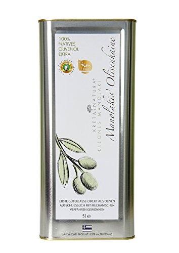 KretaNatura Natives Olivenöl extra Kaltgepresst & Filtriert | 100% natürliches & reines Olivenöl für Feinschmecker - Kreta, Griechenland | sortenreine Koroneiki Oliven | 5 Liter Kanister