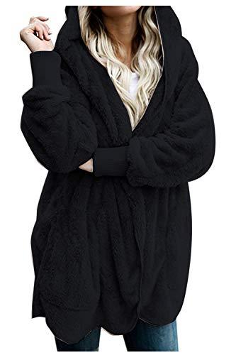 Zilcremo Mujer Lana Chaqueta Cárdigan con Capucha Frente Abierto Abrigo Fleece de Piel Sintética Invierno Negro S