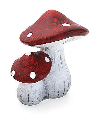 Deko Figur Pilz Fliegenpilz Pilzmännchen mit Schlafmütze aus Polystein rot orange beige, Höhe 29 cm, witzige Figur als Deko für drinnen und draussen - 2