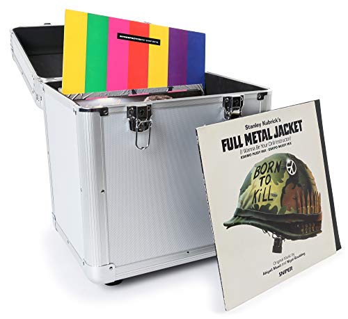 "Power Dynamics RC100 Maleta para discos de vinilo (rack portátil para 100 discos LPs de 12"", interior de gomaespuma, ligero armazón) - plata"