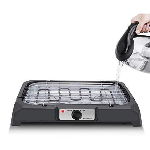Aigostar Lava 31LDQ - Griglia senza fumo, griglia per barbecue elettrica interna compatta e portatile, temperatura costante, superficie antiaderente e vassoio rimovibile, lavabile in lavastoviglie