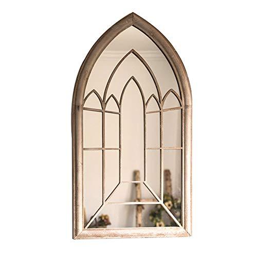 Z-Mirror Marco de Ventana de la Catedral arqueada de Metal francés Espejo Envejecido Decoración de la Pared Espejo Espejo de Piso Vintage de la Granja gótica, 24x44 Pulgadas