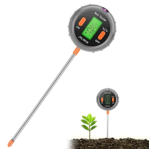 Jhua Soil Tester 5 in 1 Digital Moisture Meter PH Levels Sunlight Intensity Test Temperature Measuring Tester Environmental Humidity Measurement for Indoor Outdoor Lawn Grain Flower Grass Care (Grey)