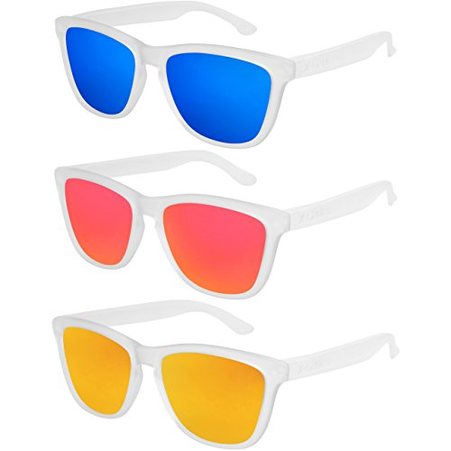 X-CRUZE® - Pack de 3 gafas de sol polarizadas estilo Retro Vintage Unisex Caballero Dama Hombre Mujer Gafas - transparente mate - Set T -