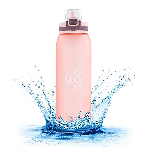 3SIXX5 Trinkflasche 900 ml aus BPA freiem Tritan, auslaufsicher, 1 Click Öffnung, Trinkflasche Kinder, Sport, Fahrrad, Fitness, Wandern, Outdoor, Büro