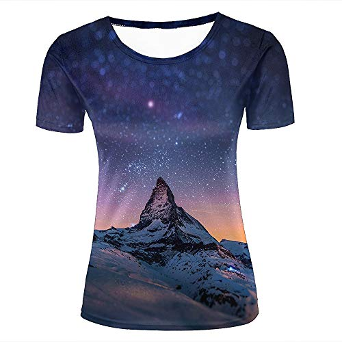 Women Casual Design 3D Printed Starry Night Sky Over The Mountains Short Sleeve T Shirts Tees XL