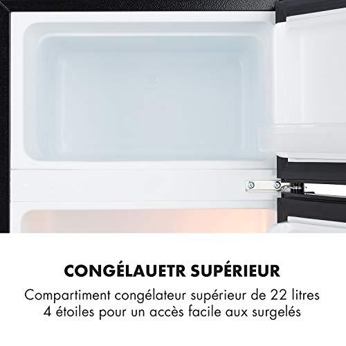 Klarstein Big Daddy Cool - Combiné réfrigérateur congélateur 87 L, 61L refrigérateur + 26L...