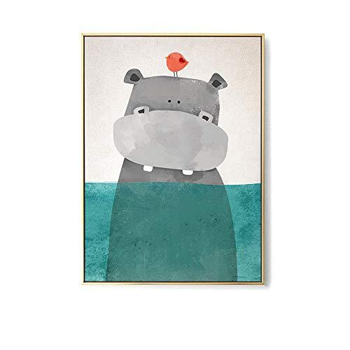 Juego de 3 pósteres para DIN A3 imágenes para habitación de bebé, Dormitorio para bebé niño niña bebé Infantil, dibujos animados hipopótamo oso polar, escandinavo,C
