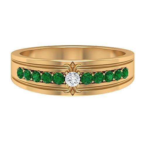 Anillo de boda antiguo, 0,29 quilates redondo esmeralda, anillo de compromiso de diamantes HI-SI, anillo de declaración, anillos de aniversario para mujeres, 10K Oro amarillo, Size:EU 56