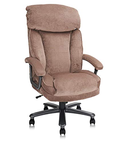 CLATINA Ergonomic Big and Tall Executive Office Chair with Upholstered Swivel 400lbs High Capacity Adjustable Height Thick Padding Headrest and Armrest for Home Office Beige