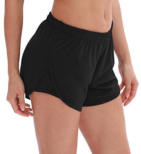 icyzone Pantalones cortos de deporte para mujer, 2 en 1, transpirables, para correr Negro L