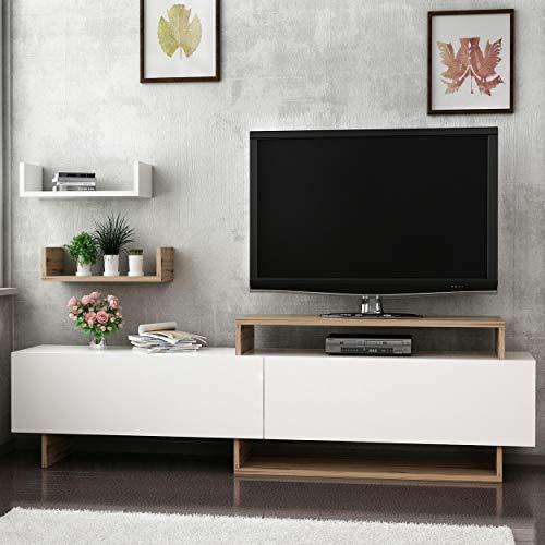 Homemania TV-Schrank Zera, Holz, Walnuss-Weiß, 180 x 30 x 48 cm - 45 x 20 x 11 cm