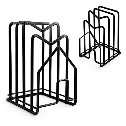 Cutting Board Holder - 2 Packs, Chopping Boards Organizer Stand For Kitchen - Cabinet Storage Chop Cut Pans Stands - Countertop Pots Thin Pan Lids Rack Holders, Flat Steel, Black
