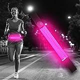 Ultra Rosa Cintura a LED Unisex con Marsupio Uomo Donna USB Ricaricabile Porta Cellulare da Corsa Luce Running Poket Marsupio per Running Marsupio Impermeabile Luce per Corsa Notturna Marsupio Corsa