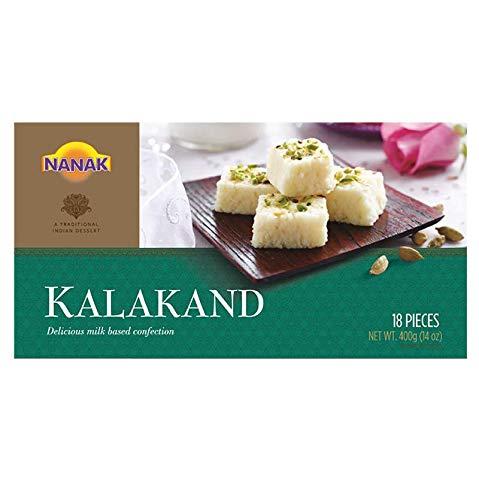 Nanak Kalakand (Milk Fudge) 400g 18 pcs 14oz Indian Delicacy Sweets Gift Box for Diwali, Eid, Navratri, Holi, Rakhi