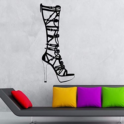 NSRJDSYT Calcomanía de Pared para Zapatos de Mujer Hermosa calcomanía de Pared extraíble Pegatina de Ventana de Centro Comercial Cartel de DEC de Tienda de Moda 57x129cm