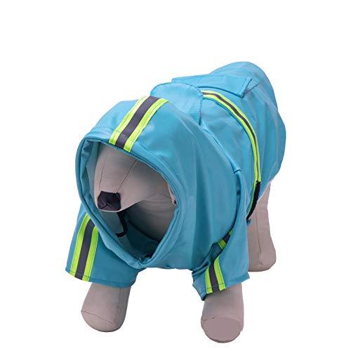 Aexit Haustier Hund Regen Kleidung Hund Regenmantel PU reflektierender Haustier Regenmantel Hund Kapuze winddichter Regenmantel Regen/Wasserbeständig Blue-XL