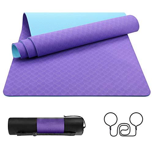 EgoIggo Tapis de Sport Tapis Yoga en TPE Matériaux Recyclable Tapis Fitness Sol Antidérapant et Durable avec Sac de Transport pour Fitness Pilates Gym 183x61cmx0.6 cm