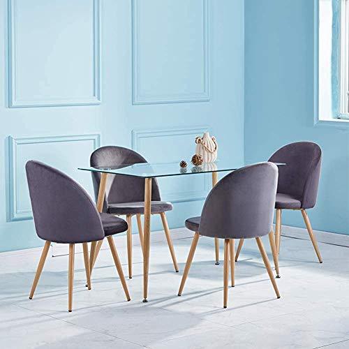 Mesa de vidrio y traje de silla de terciopelo suave, mesa de cocina rectangular y sillas para restaurantes, 120 cm,Grey