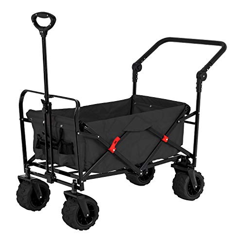 Black Wide Wheel Wagon All Terrain Folding Collapsible Utility Wagon with Push Bar - Portable Rolling Heavy Duty 265 Lb Capacity Canvas Fabric Cart Buggy - Beach, Garden, Sporting Events, Park, Picnic