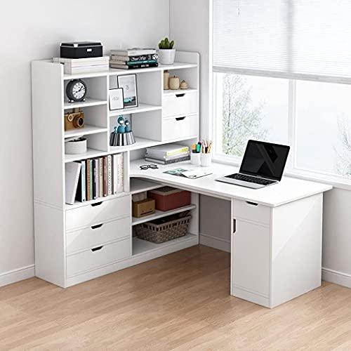 QTWW Escritorio de computadora en Forma de L, Escritorio de Oficina con estantes, Escritorio y estantería en uno, Escritorio de Esquina para Oficina en casa, 3 Colores, 2 tamaños