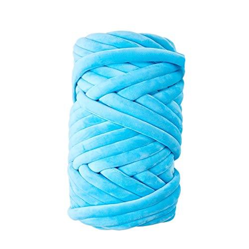 Super Chunky Yarn Wool Yarn, Soft Washable Coarse Wool Thick Elastic Core Yarn, for Handmade Scarves Carpets for Arm Knitting Hand Knitting Crochet Blanket Rugs (Blue)
