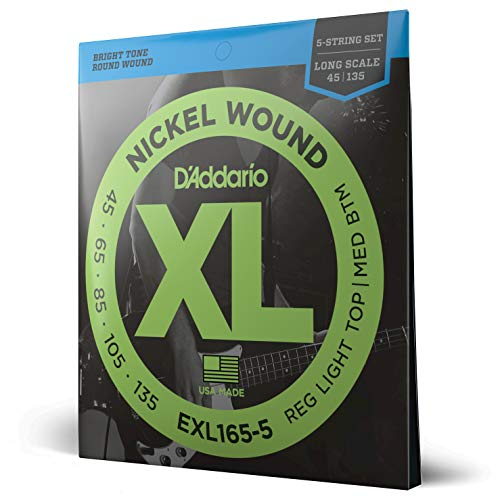 D'Addario EXL165-5 XL Nickel Wound Regular Light Top/Medium Bottom...