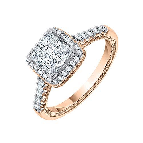 KATARINA Anillo de compromiso con halo de diamantes de talla princesa y redonda en oro de 14 quilates 1 1/4 quilt, H-I, I2-I3)