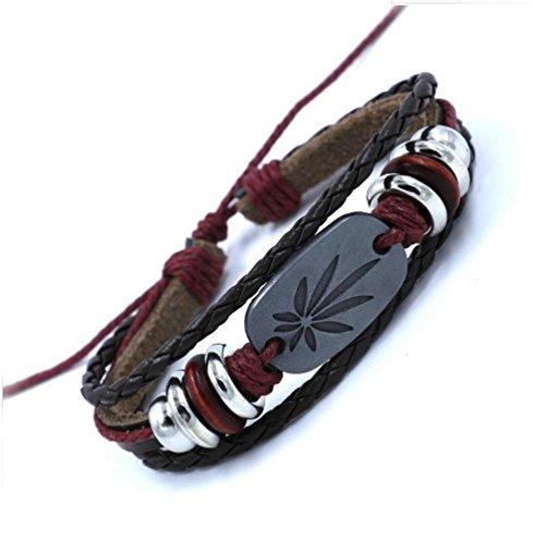 Gudeke - Pulsera trenzada de piel, cuerda y cuentas de madera, diseño punk reggae con piedra diseño hoja de marihuana