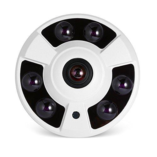 Indoor POE IP Kamera Sicherheit Fisheye Panorama, Revotech® H.265 HD 3MP 1080P Kameraüberwachung Home Weiter Winkel Nachtsicht mit IR Bewegungserkennung ONVIF P2P Cloud CCTV-Kamera (IF02-P Weiß)
