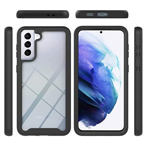 Funda para Samsung Galaxy A21s, 360 grados, funda híbrida transparente, de ajuste delgado, carcasa rígida + TPU suave, resistente a golpes, antiarañazos, para Samsung Galaxy A21s, color negro