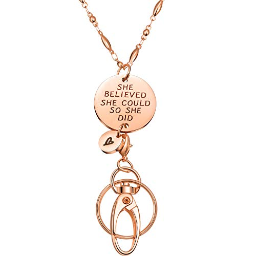 Jovitec Fashion Lanyard, Necklace Chain Lanyard for ID Badge Holder and Key Chain, Women's Chain Inspirational Pendant (Rose Gold)