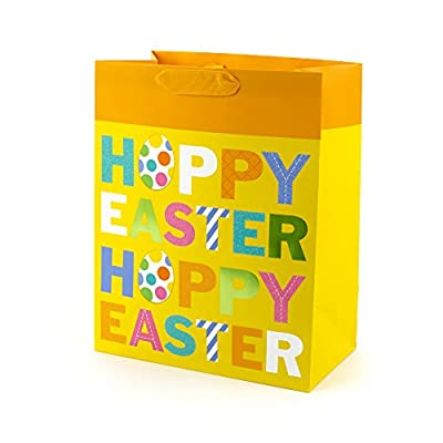 "Hallmark 13"" Large Easter Gift Bag (Yellow, Glitter, Foil - ""Hoppy Easter"") for Easter Baskets, Egg Hunts, Kids Gifts and More"