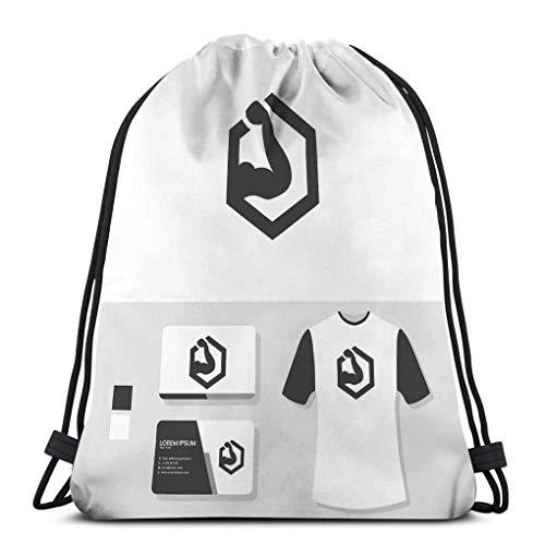 JHUIK Drawstring Bag Backpack,Mochila de Viaje con cordón Mochila Deportiva para Todos Mockup para Tarjeta de Visita con Logo de Gimnasio Mockup para Tarjeta de Visita con Logo de Gimnasio